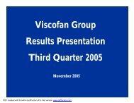 Viscofan Group Results Presentation Third Quarter 2005
