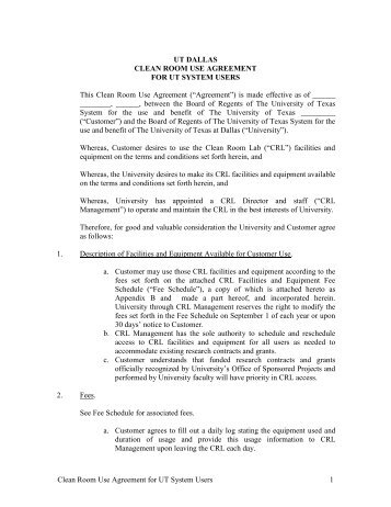 CLEAN ROOM USE AGREEMENT - The University of Texas at Dallas