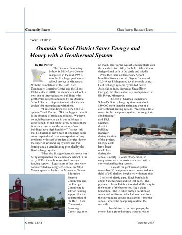 Onamia School District Saves Energy and Money with a Geothermal ...