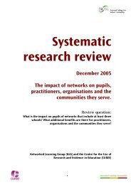 Systematic research review the impact of networks