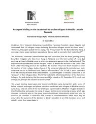 An urgent briefing on the situation of Burundian refugees in Mtabila ...