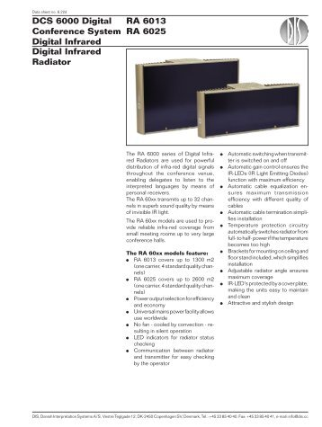 Digital Infrared Radiator RA 6013 RA 6025 DCS 6000 ... - AVC Group
