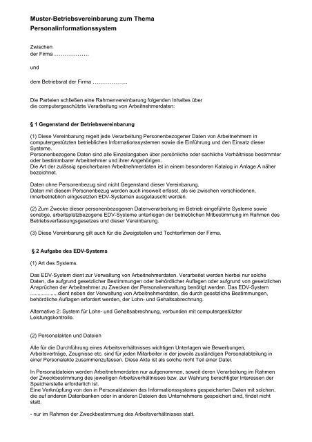 Muster Betriebsvereinbarung Als Pdf Br Wiki 6 9