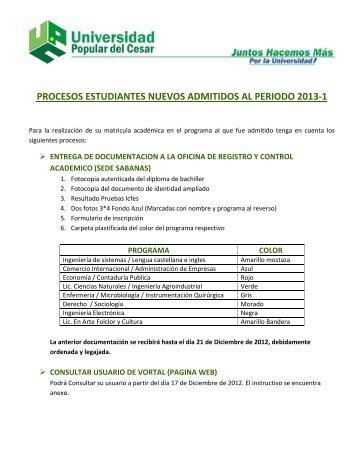 procesos estudiantes nuevos admitidos al periodo 2013-1