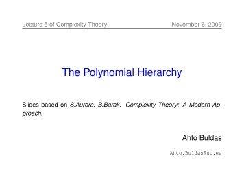 The Polynomial Hierarchy