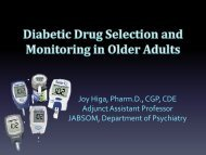 Diabetic Drug Selection and Monitoring in Older Adults - American ...