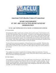 American Civil Liberties Union of Connecticut - Massachusetts ...