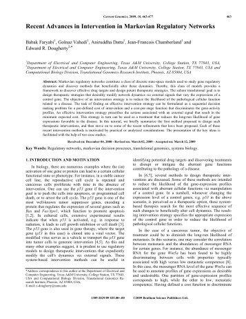 Recent Advances in Intervention in Markovian Regulatory Networks
