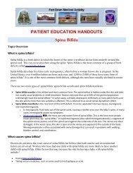 PATIENT EDUCATION HANDOUTS Spina Bifida