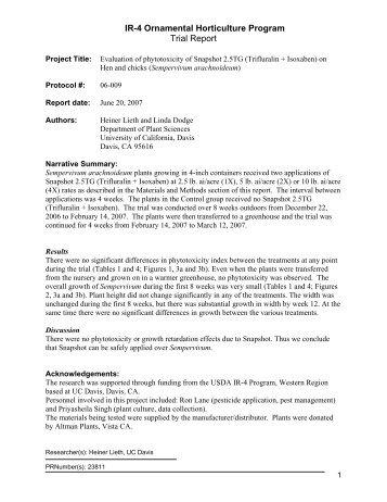 IR-4 Ornamental Horticulture Program Trial Report - Heiner Lieth
