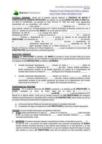 Contrato Hipotecario Carta Fianza - Banco Falabella