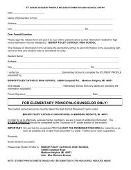 for elementary principal/counselor only! - Bishop Foley Catholic ...
