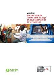 Vaccins: Etat des lieux de l'accès dans les pays en développement ...