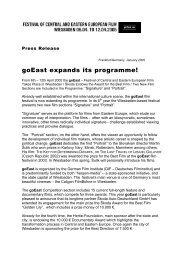 goEast expands its programme! - Deutsches Filminstitut