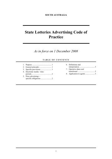 State Lotteries Advertising Code of Practice