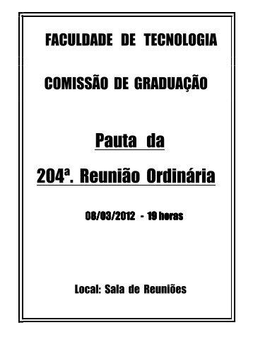 pauta da 204 reunião 08 03 12_versão final - Faculdade de ...