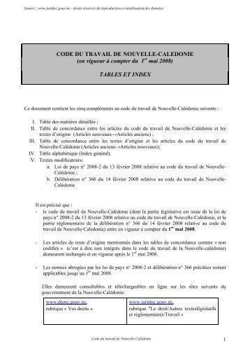 CODE DU TRAVAIL DE NOUVELLE-CALEDONIE - Documentation ...