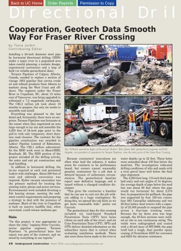 Geotech Data smooth way for Fraser river crossing in Canada