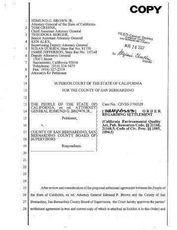 San Bernardino Settlement Agreement - Attorney General - State of ...