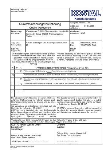 Qualitätssicherungsvereinbarung - Kostal