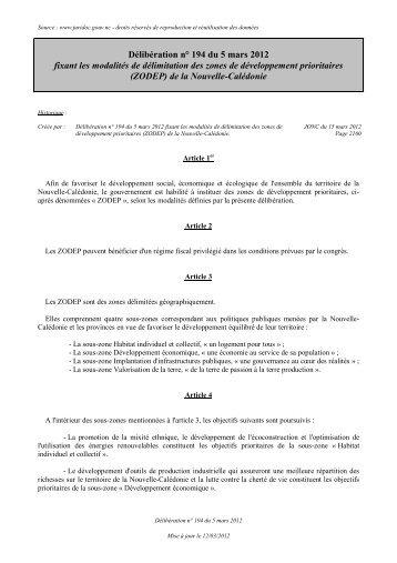Délibération n° 194 du 5 mars 2012 fixant les modalités de ...