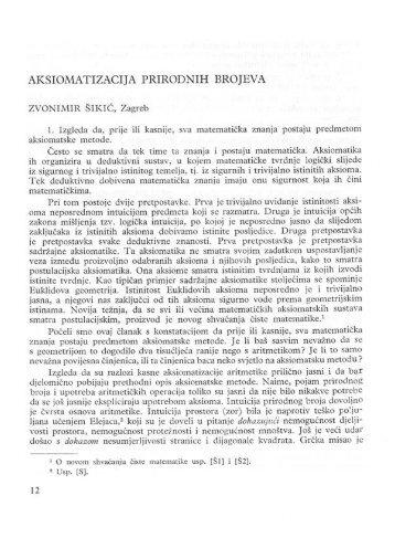 Aksiomatizacija prirodnih brojeva - Fsb
