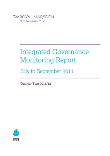 Integrated Governance Monitoring Report July to September 2011