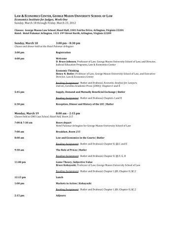 Web Friendly EI Week 1 Agenda March 2012 - Law & Economics ...