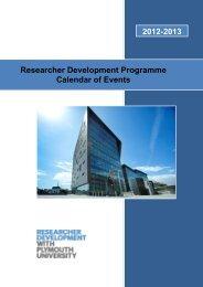 Researcher Development Programme Calendar of Events 2012-2013