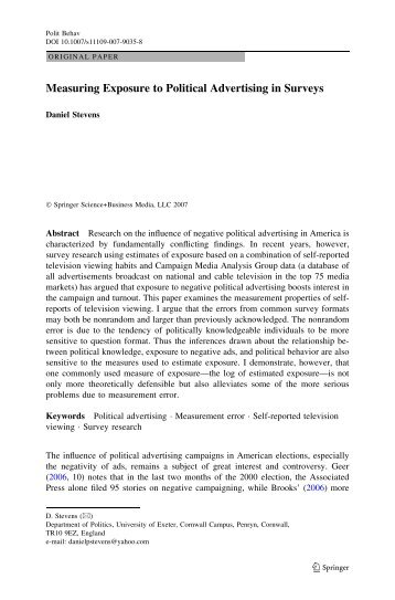 Measuring Exposure to Political Advertising in Surveys - College of ...