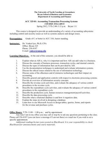ACC-325-01 - The University of North Carolina at Greensboro