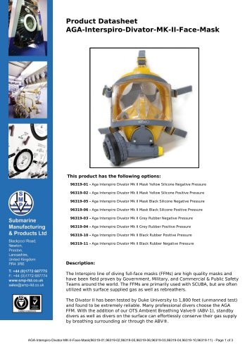 Product Datasheet: AGA-Interspiro-Divator-MK-II-Face-Mask
