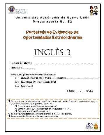 INGLÉS 3 - Preparatoria 22 - Universidad Autónoma de Nuevo León