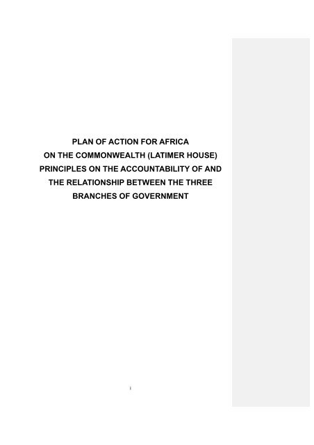 plan of action for africa on the commonwealth (latimer house)