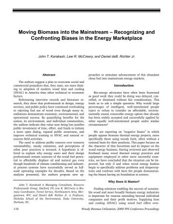 Moving Biomass into the Mainstream – Recognizing and ...