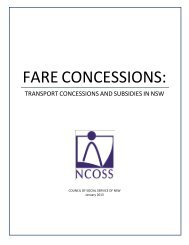 FARE CONCESSIONS: - NCOSS