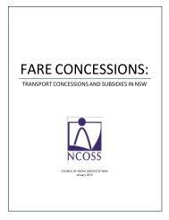 FARE CONCESSIONS: - NCOSS