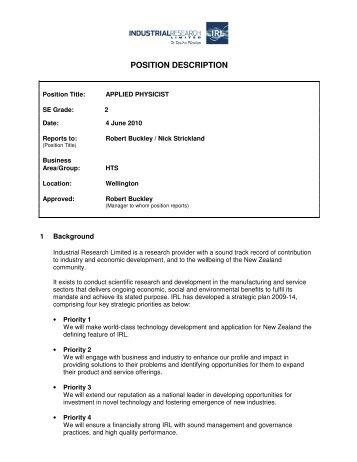 POSITION DESCRIPTION - Industrial Research Limited