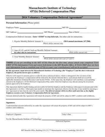2011 457(b) Plan Deferral Agreement Form - Massachusetts ...