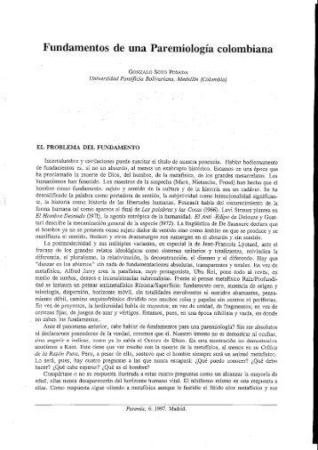Fundamentos de una Paremiología colombiana - Paremia.org