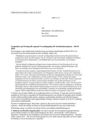 föreningen rädda järvafältet - SLL Tillväxt, miljö och regionplanering ...