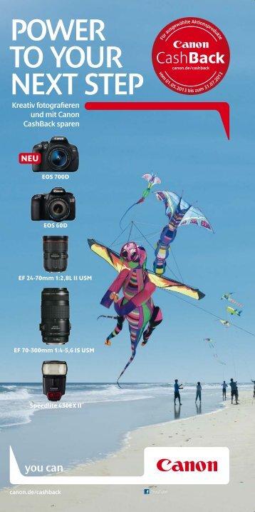Canon CashBack Aktionsflyer herunterladen - electronic4you