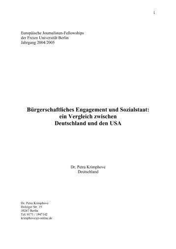 Bürgerschaftliches Engagement und Sozialstaat - Westfälische ...
