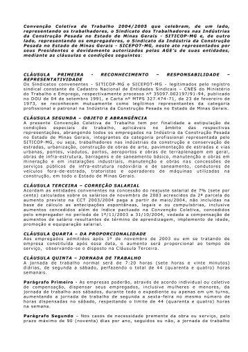 Convenção Coletiva de Trabalho 2004/2005 que ... - Sicepot-MG