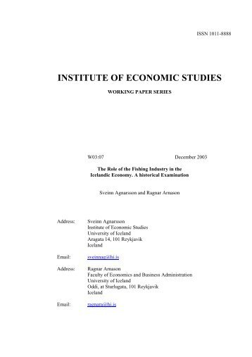 INSTITUTE OF ECONOMIC STUDIES