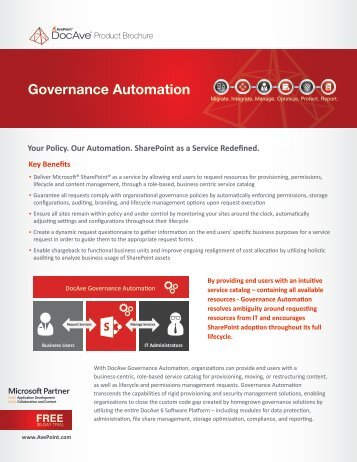 DocAve Governance Automation Product Brochure - AvePoint