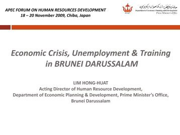 Economic Crisis, Unemployment & Training in BRUNEI ...