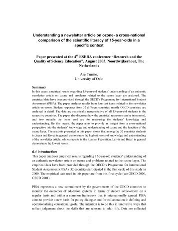Understanding a newsletter article on ozone- a cross-national ... - Pisa