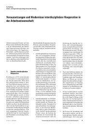 Voraussetzungen und Hindernisse interdisziplinärer Kooperation in ...