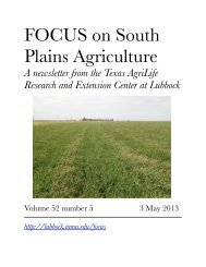 May 3 - Texas A&M AgriLife Research & Extension Center at Lubbock